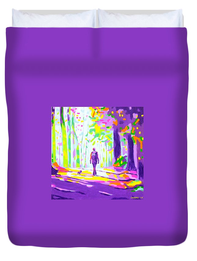 Abstracted Figurative Duvet Cover featuring the painting Colorful Autumn by Casoni Ibolya