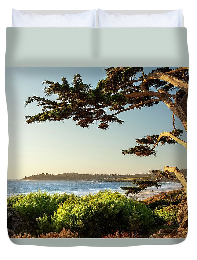 Scenics Duvet Cover featuring the photograph Colorful Beachfront In Carmel-by-the-sea by Pgiam