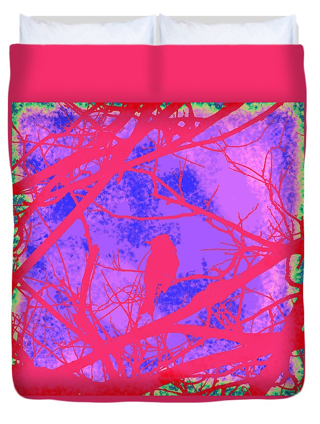 Pink Duvet Cover featuring the digital art Colorful Bird by Cassie Peters