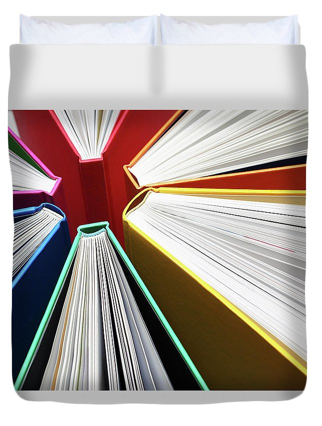 Expertise Duvet Cover featuring the photograph Colorful Books Abstract by Blackred