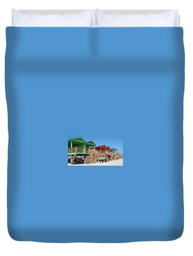 Camp Lejeune Duvet Cover featuring the photograph Colorful Cabanas by Caryl J Bohn