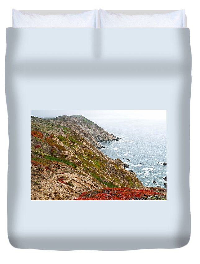Beauty In Nature Duvet Cover featuring the photograph Colorful Cliffs At Point Reyes by Jeff Goulden