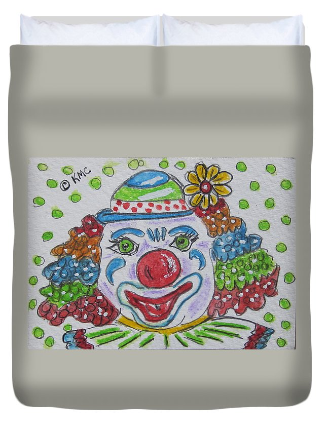 Colorful Duvet Cover featuring the painting Colorful Clown by Kathy Marrs Chandler
