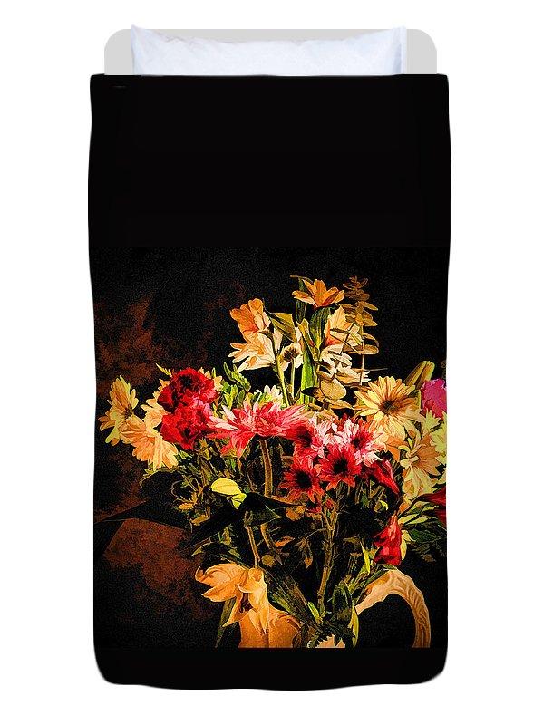 Colors Duvet Cover featuring the photograph Colorful Cut Flowers - V3 by Les Palenik