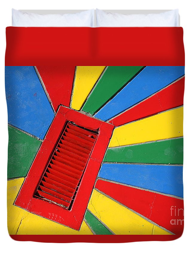 Drain Duvet Cover featuring the photograph Colorful Drain by James Brunker