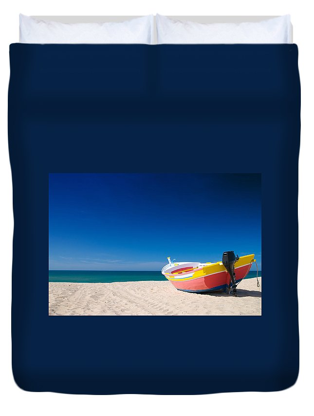 Boat Duvet Cover featuring the photograph Colorful Fishing Boat Algarve Portugal by Amanda Elwell