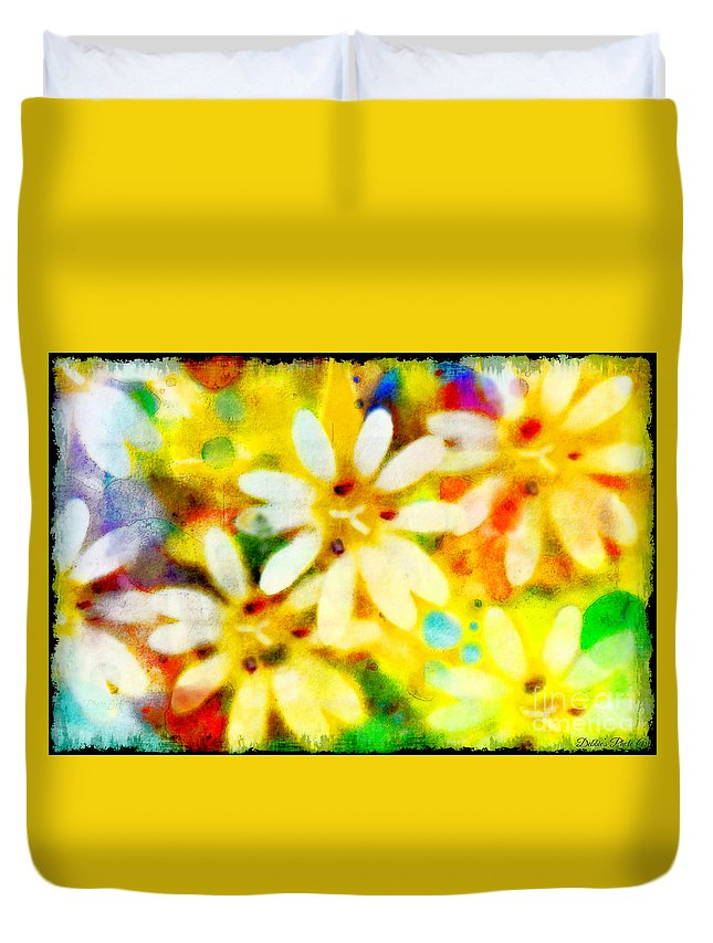 Abstract Duvet Cover featuring the photograph Colorful Floral Abstract - Digital Paint by Debbie Portwood