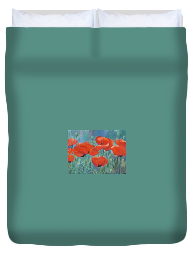 Red Poppies Duvet Cover featuring the painting Colorful Flowers Red Poppies Beautiful Floral Art by K Joann Russell