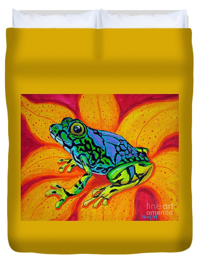 Frog Duvet Cover featuring the painting Colorful Frog by Nick Gustafson