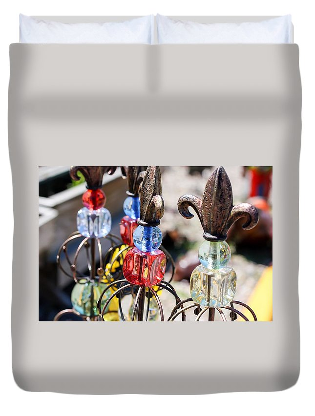 Colorful Glass And Metal Garden Ornaments Duvet Cover featuring the photograph Colorful Glass And Metal Garden Ornaments by Cynthia Woods