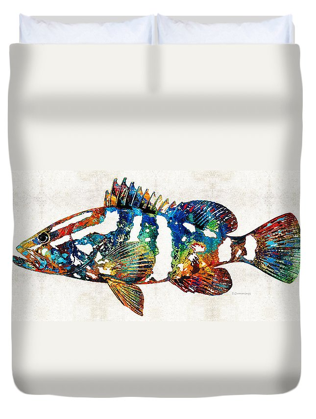 Fish Duvet Cover featuring the painting Colorful Grouper 2 Art Fish By Sharon Cummings by Sharon Cummings