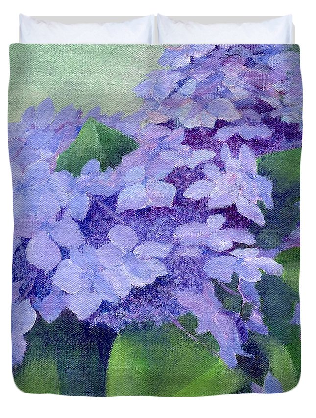 Hydrangeas Painting Duvet Cover featuring the painting Colorful Hydrangeas Original Purple Floral Art Painting Garden Flower Floral Artist K. Joann Russell by K Joann Russell