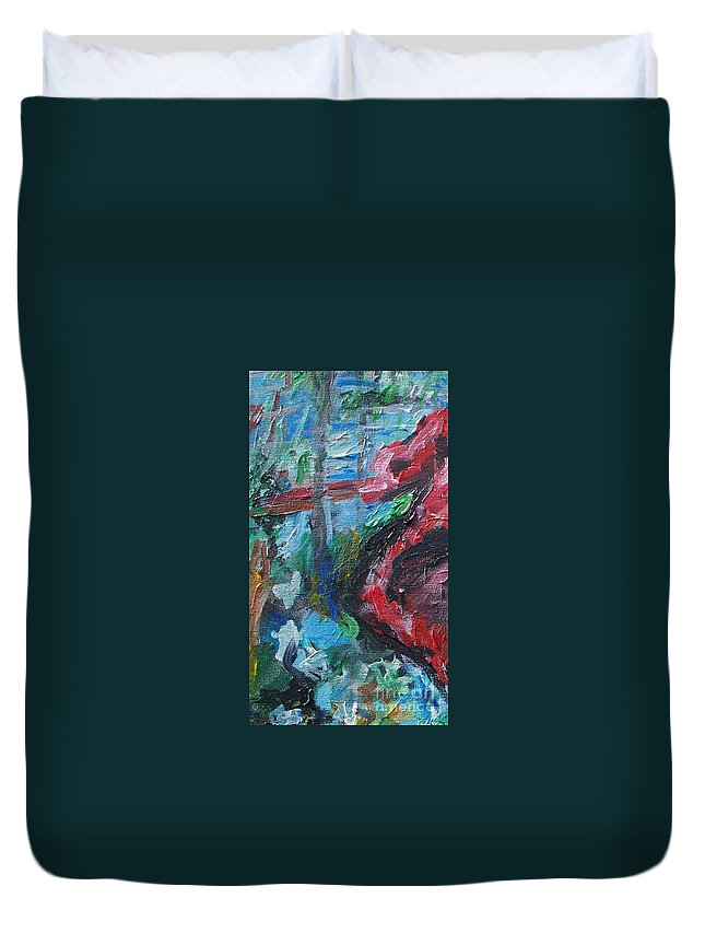 Abstract Duvet Cover featuring the painting Colorful Impressionism by Eric Schiabor