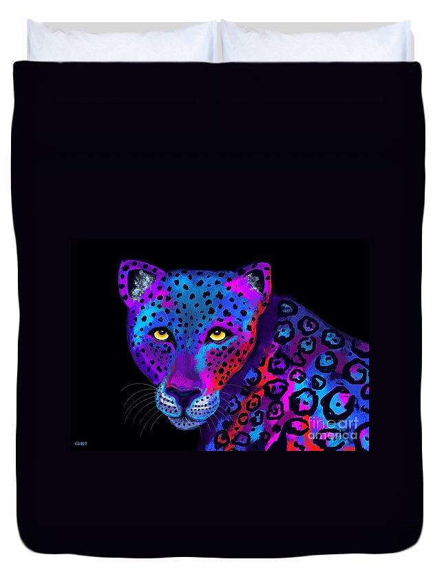 Jaguar Duvet Cover featuring the painting Colorful Jaguar by Nick Gustafson