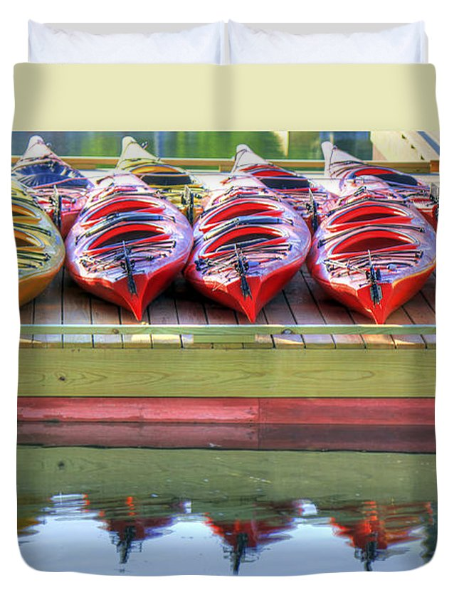 Duvet Cover featuring the photograph Colorful Kayaks2 by Brenda Giasson