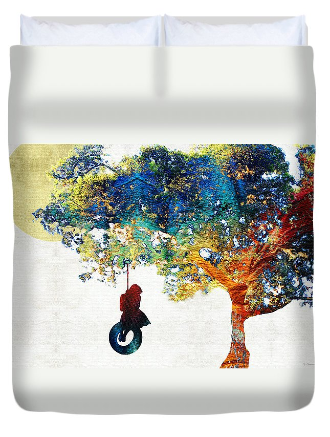 Tree Duvet Cover featuring the painting Colorful Landscape Art - The Dreaming Tree - By Sharon Cummings by Sharon Cummings