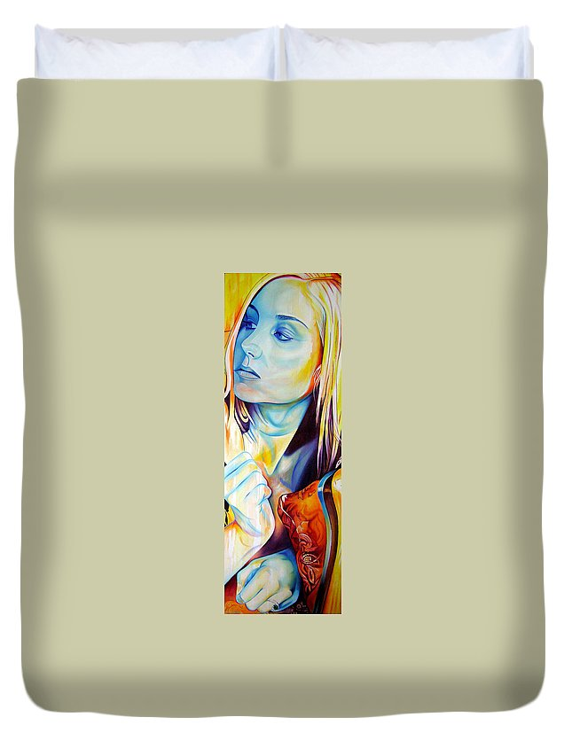 Duvet Cover featuring the painting Colorful Love by Joshua Morton