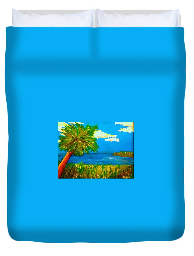 Palm Duvet Cover featuring the painting Colorful Marsh by Hogan Willis