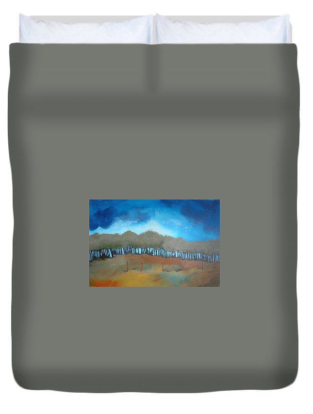 Meadow Duvet Cover featuring the painting Colorful Meadow by Rhodes Rumsey