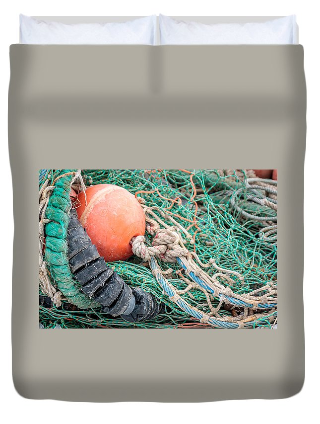 Laura Duhaime Photography Duvet Cover featuring the photograph Colorful Nautical Rope by Laura Duhaime