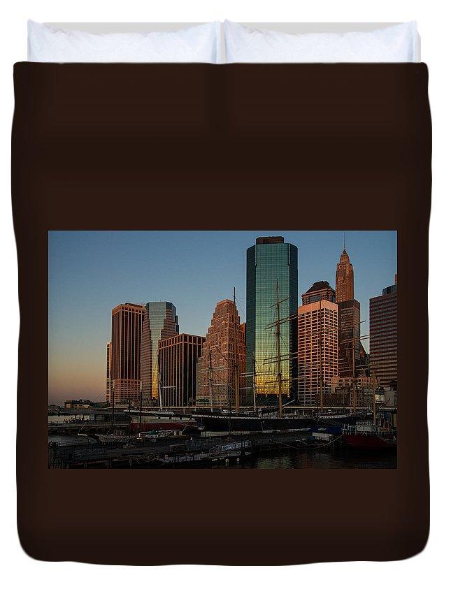 Tallship Duvet Cover featuring the photograph Colorful New York by Georgia Mizuleva