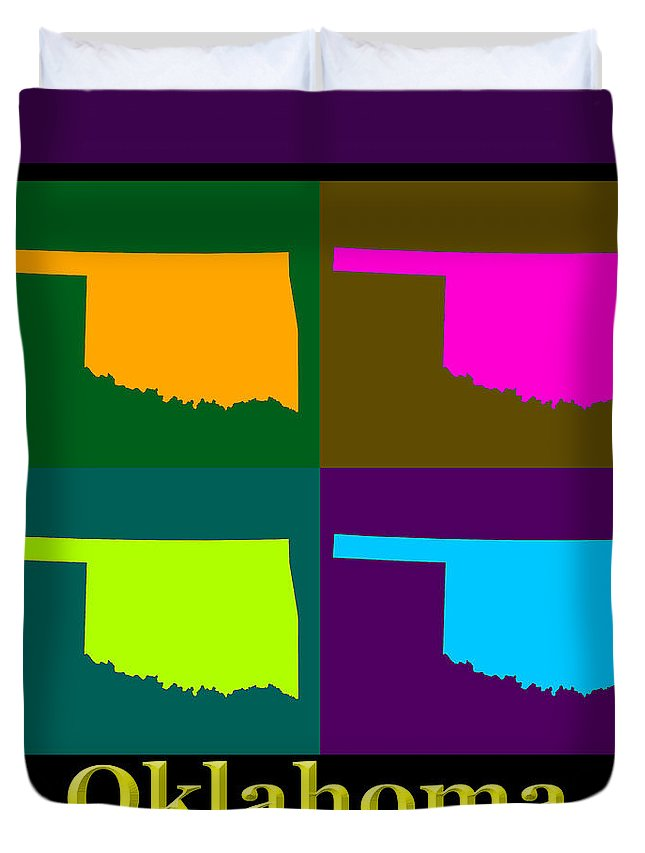 Oklahoma Duvet Cover featuring the photograph Colorful Oklahoma State Pop Art Map by Keith Webber Jr