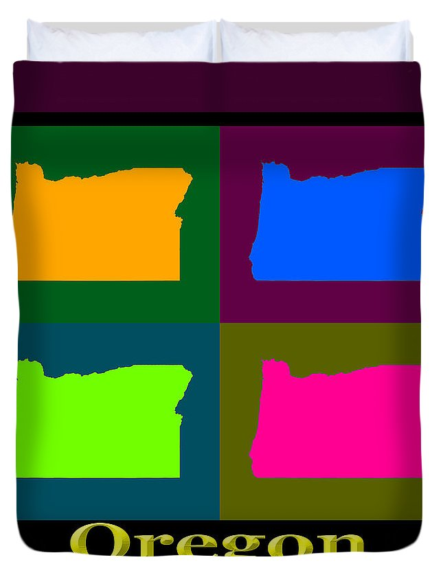 Oregon Duvet Cover featuring the photograph Colorful Oregon Pop Art Map by Keith Webber Jr