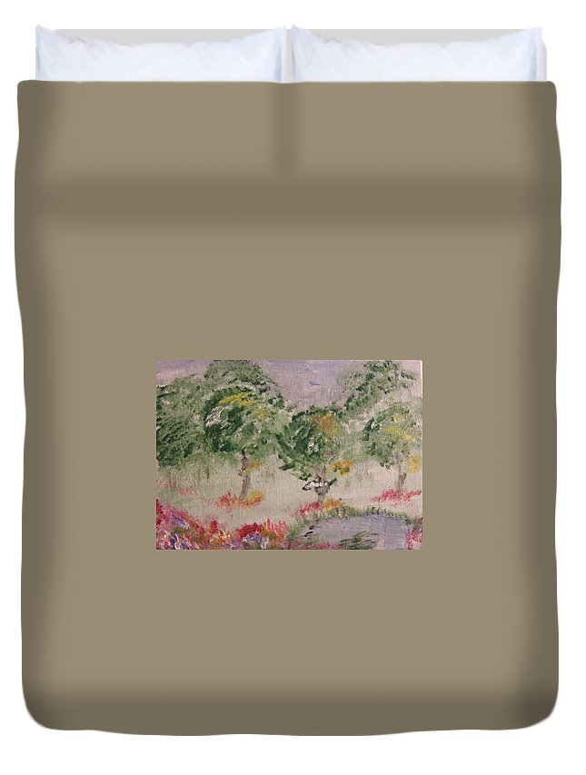 Duvet Cover featuring the painting Colorful Pond by Katerina Naumenko