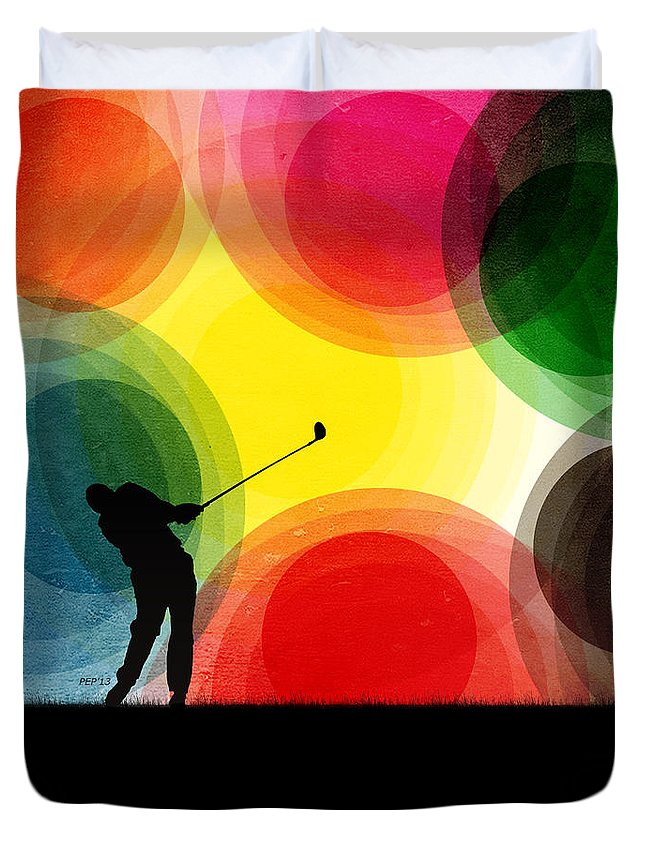 Golf Duvet Cover featuring the digital art Colorful Retro Silhouette Golfer by Phil Perkins