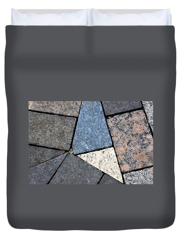 Rocks Duvet Cover featuring the photograph Colorful Rock Pavers by Nancy Mueller