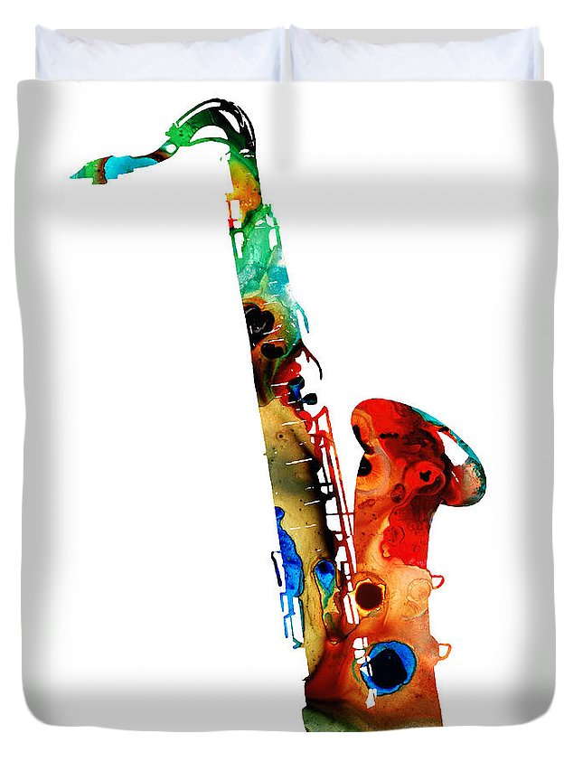 Saxophone Duvet Cover featuring the painting Colorful Saxophone By Sharon Cummings by Sharon Cummings