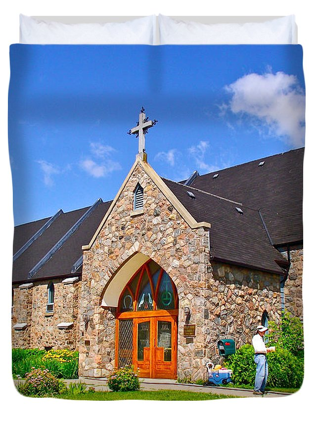 Colorful Stone Catholic Church In North Bay Of Lake Nipissing Duvet Cover featuring the photograph Colorful Stone Catholic Church In North Bay Of Lake Nipissing-on by Ruth Hager