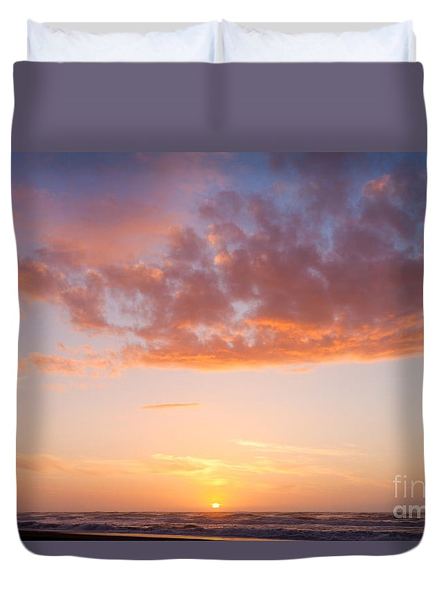 Atmosphere Duvet Cover featuring the photograph Colorful Sunset Cloudscape Over Beach And Ocean by Stephan Pietzko