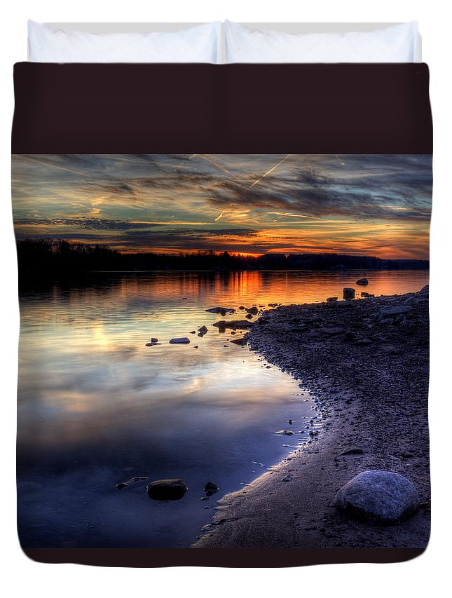 Sunset Duvet Cover featuring the photograph Colorful Sunset by David Dufresne