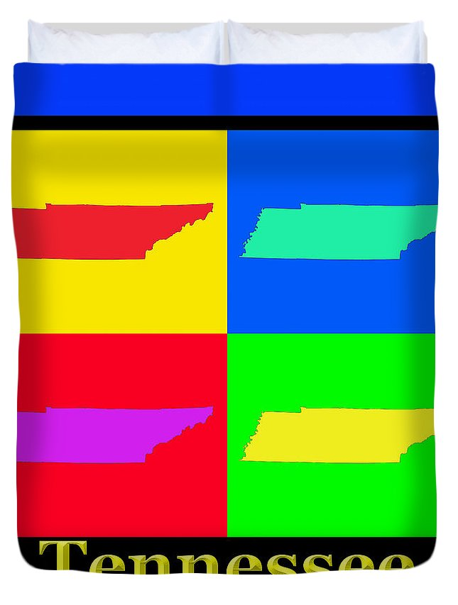 Tennessee Duvet Cover featuring the photograph Colorful Tennessee Pop Art Map by Keith Webber Jr