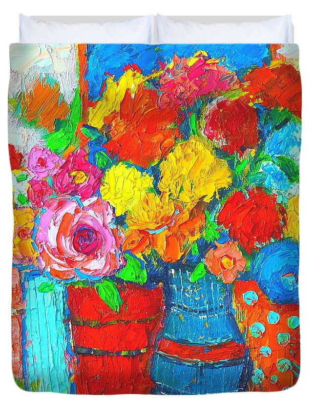 Colorful Vases And Flowers Abstract Expressionist Painting Duvet