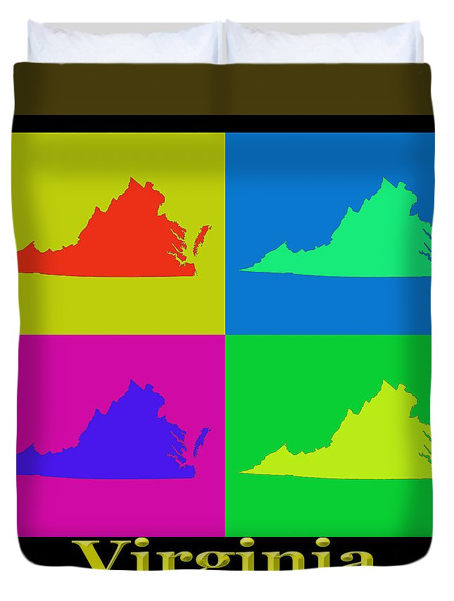Virginia Duvet Cover featuring the photograph Colorful Virginia State Pop Art Map by Keith Webber Jr