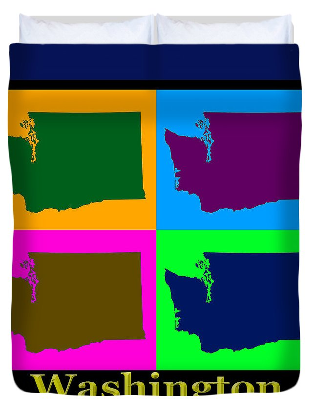 Washington Duvet Cover featuring the photograph Colorful Washington State Pop Art Map by Keith Webber Jr
