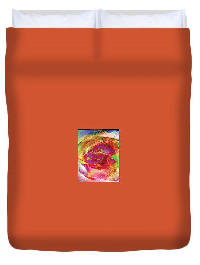 Rose Flower Duvet Cover featuring the digital art Colorfull Rose by Yael VanGruber