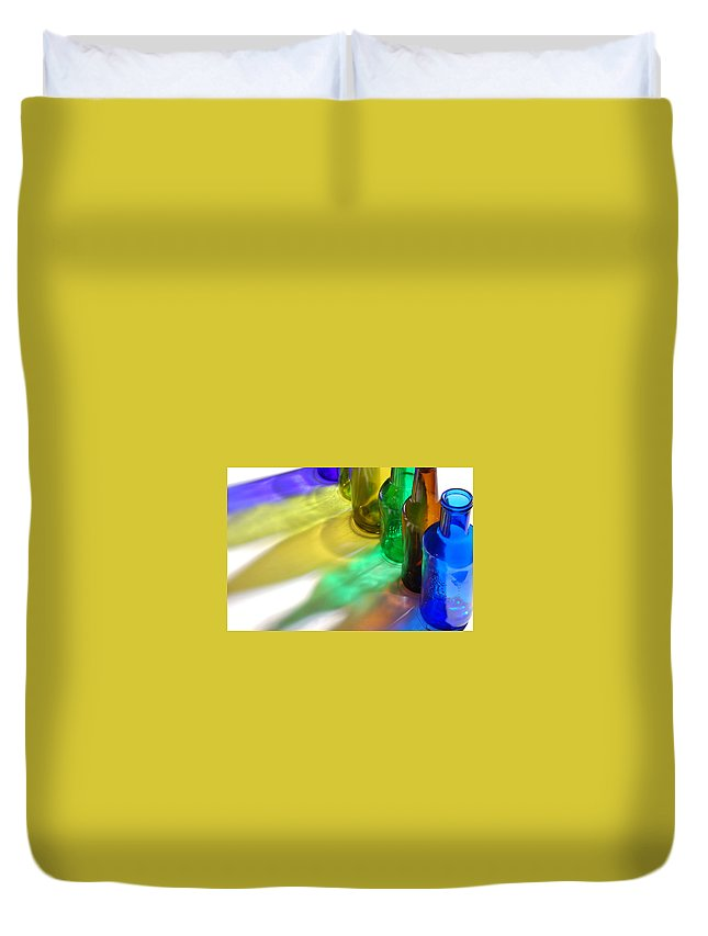 Shadow Duvet Cover featuring the photograph Coloring Bottles by Gina Dsgn