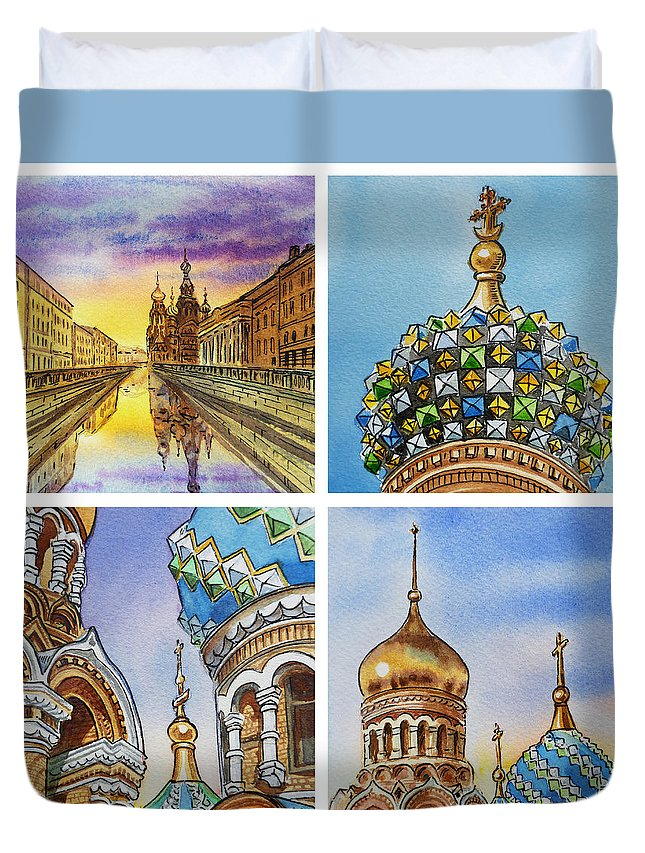 Russia Duvet Cover featuring the painting Colors Of Russia Church Of Our Savior On The Spilled Blood by Irina Sztukowski