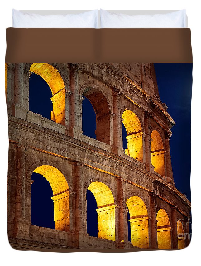 Colosseum Duvet Cover featuring the photograph Colosseum And Moon by Inge Johnsson