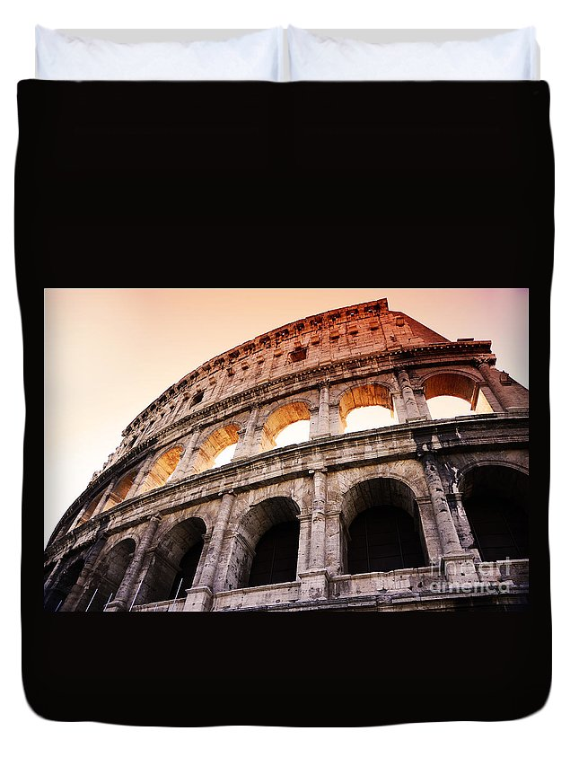 Rome Duvet Cover featuring the photograph Colosseum Italy by Phill Petrovic
