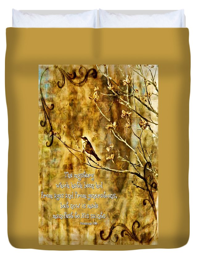 Jesus Duvet Cover featuring the digital art Colossians 1 26 by Michelle Greene Wheeler