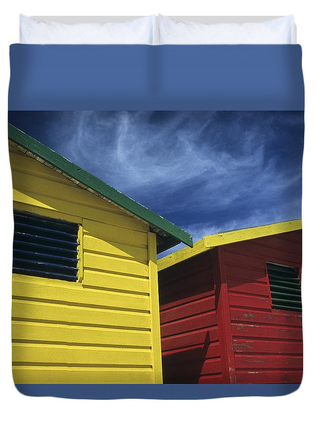 Beach Huts Duvet Cover featuring the photograph Coloured Beach Huts by Maria Heyens