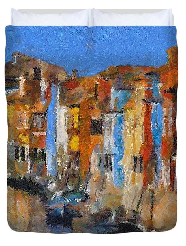 Landscapes Duvet Cover featuring the painting Coloured Houses On Burano by Dragica Micki Fortuna