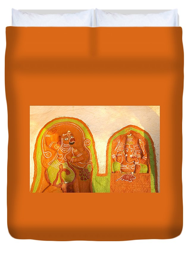 Hampi Duvet Cover featuring the digital art Coloured Reliefs by Carol Ailles