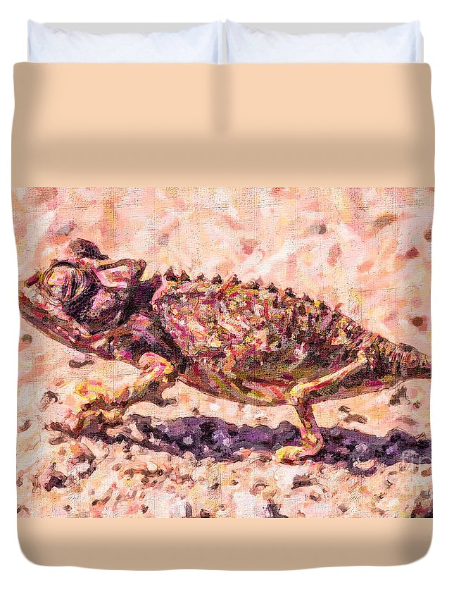 Chameleon Duvet Cover featuring the digital art Colourful Chameleon by Liz Leyden