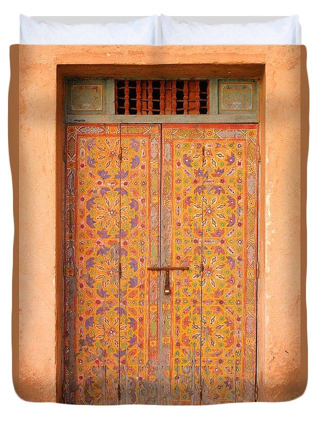 Door Duvet Cover featuring the photograph Colourful Entrance Door Sale Rabat Morocco by Ralph A Ledergerber-Photography