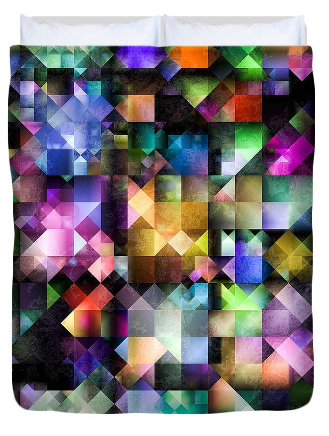 Fractal Duvet Cover featuring the digital art Colourful Fractal Jewels by Hakon Soreide